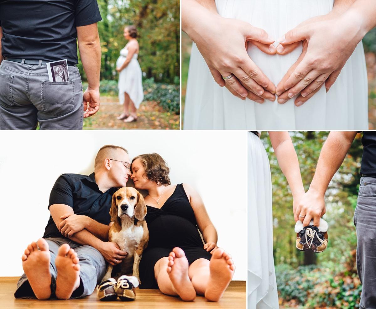 Babybauchfotos Dresden Babybauch und Hund Ultraschall Babyschuhe Herz Familie