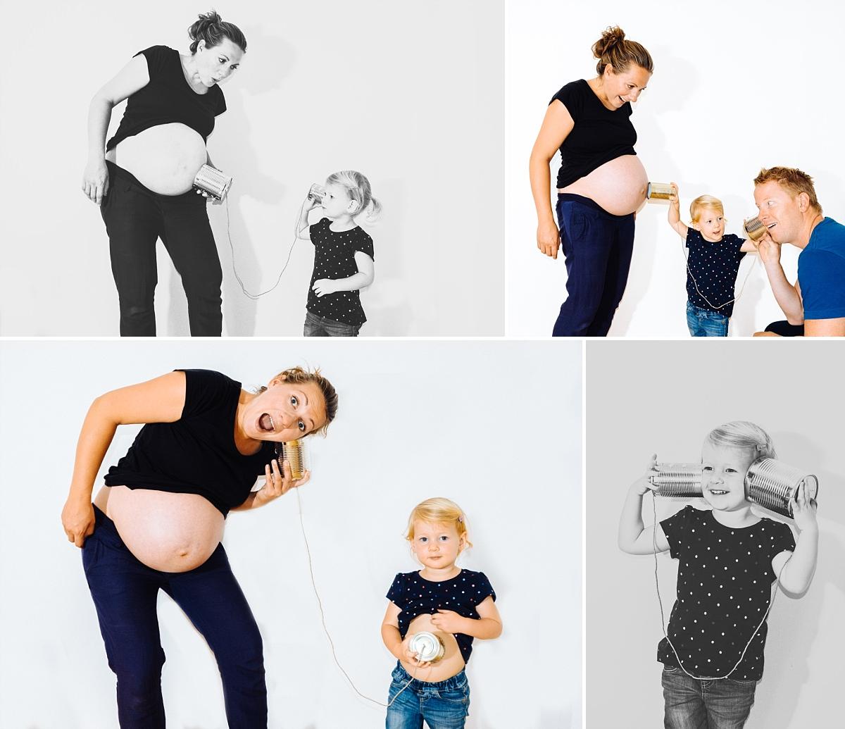 Babybauchfotos Dresden Vorfreude auf Geschwister Dosentelefon Mama Papa Kind Babybauch