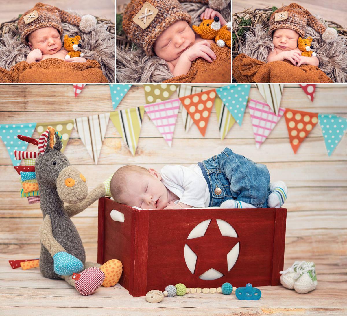 Newbornfotos Dresden Babyfotos Neugeborenes Fuch und Pferd Baby schläft