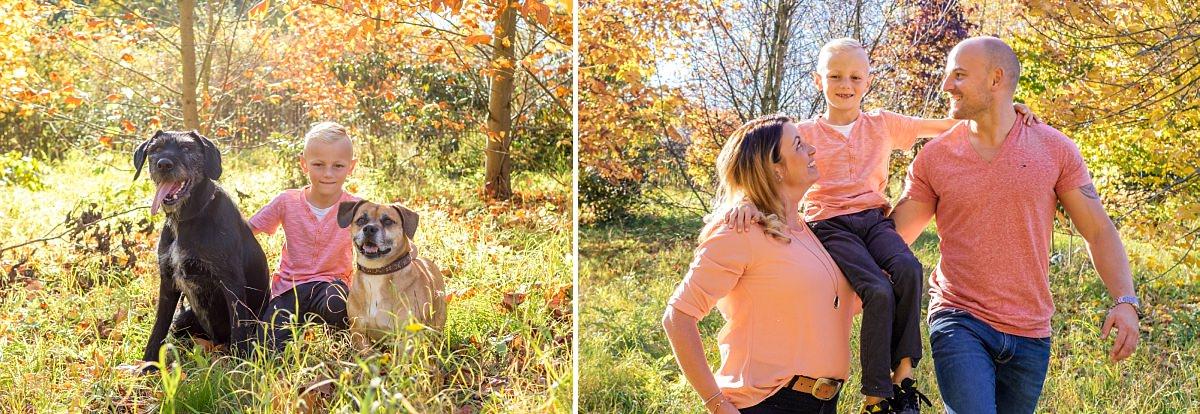 Familienfotos Dresden Herbstspaziergang Kind und Hund