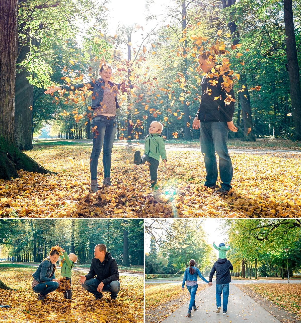 Familienfotos Dresden Herbst Sonne Kind Spaziergang zu dritt spielen im Laub