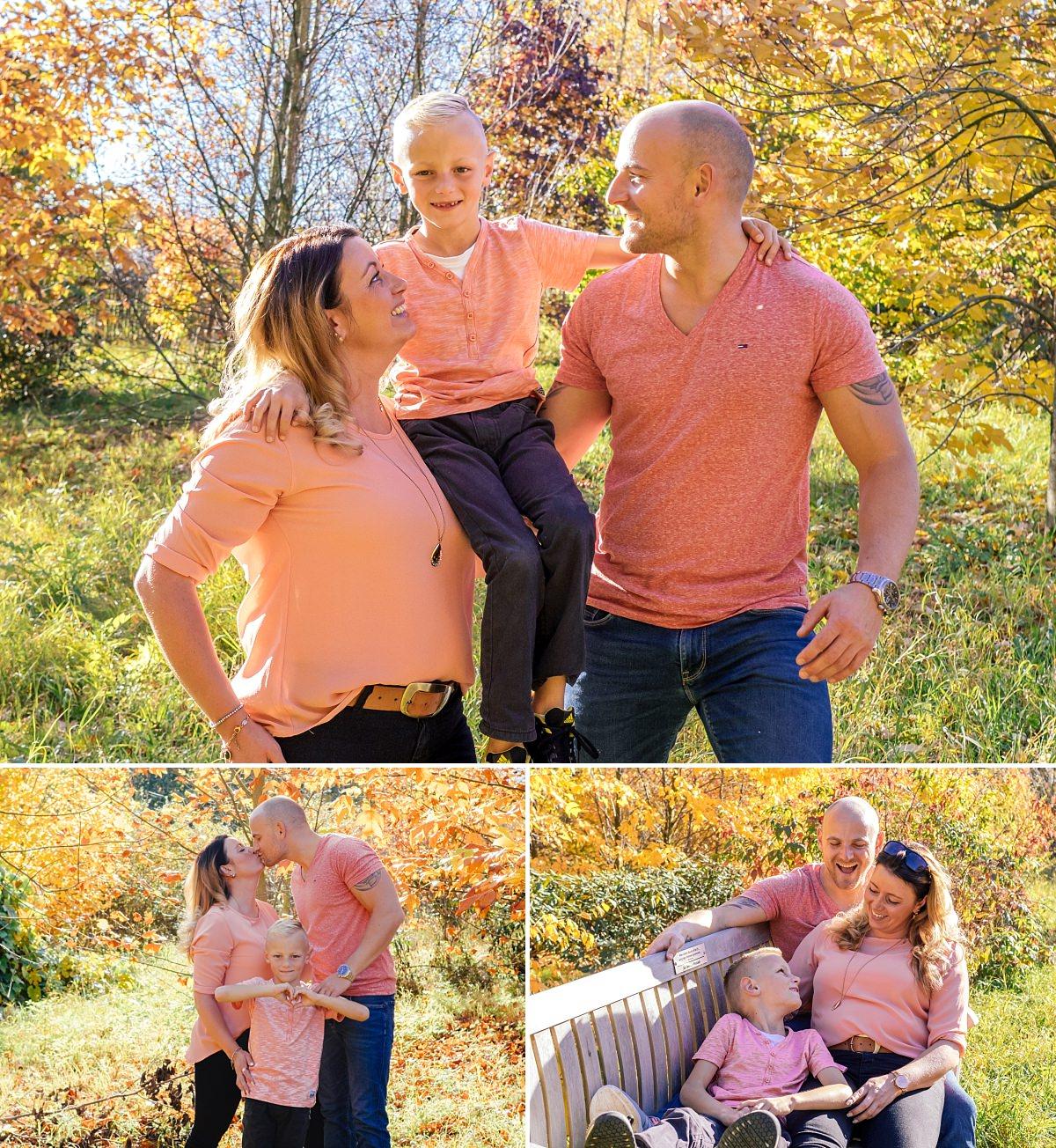 Familienfotos Dresden Herbst Spaziergang Familie auf Bank