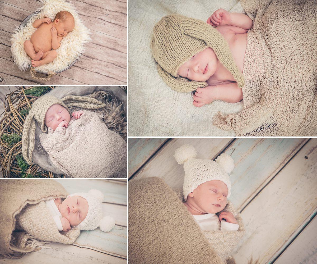 Newbornfotos Dresden Babyfotos Baby schläft Babymütze Hase Neugeborenes