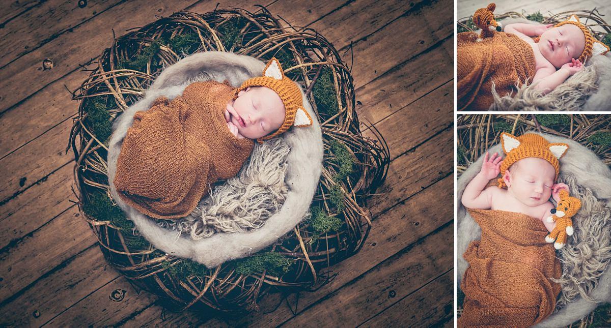 Newbornfotos Dresden Baby schläft Fuchs
